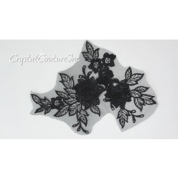 3D Black Small Floral Embroidered Applique