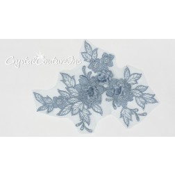 3D Lt Blue Small Floral Embroidered Applique