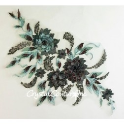 3D Brown with Metallic Aqua Floral Embroidered Applique