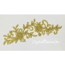 Gold Embroidered 3D Floral Applique