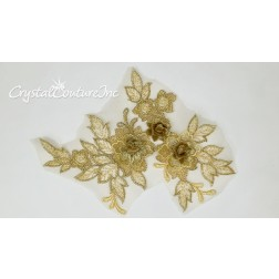 3D Gold Small Floral Embroidered Applique