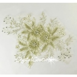 3D Ivory/Champagne Floral Embroidered Applique
