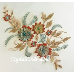 3D Nude/Aqua/Coral with Metallic Rose Gold Floral Embroidered Applique