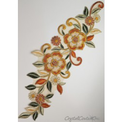 Orange/Gold/Green Floral Lace Embroidered Applique