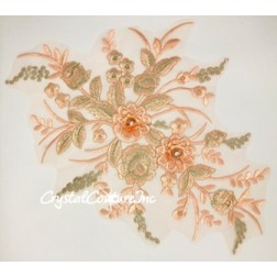 Coral/Lt Peach/Lt Gold Metallic 3D Floral Embroidered Applique