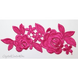Fuchsia Floral Lace Embroidered Applique