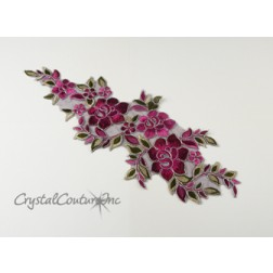 Plum/Burgundy/Silver Floral Lace Embroidered Applique