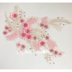 Lt Pink/Ivory 3D Floral Embroidered/Pearl Applique