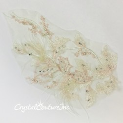 Lt Pink/Green Floral Embroidered Applique with Feathers