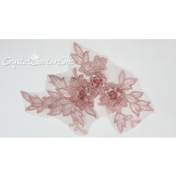 3D Pink Small Floral Embroidered Applique