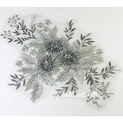 3D Silver Metallic with Graphite Floral Embroidered Applique