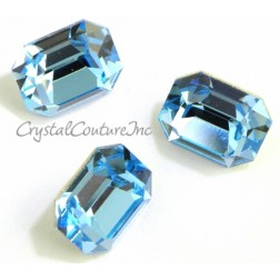 Swarovski Octagon Fancy Stone #4600 - Aquamarine 10mm x 6mm - 6 pieces