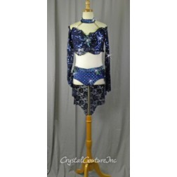 Navy Blue Long Sleeved Lace Top and Trunk/Skirt - Size YL