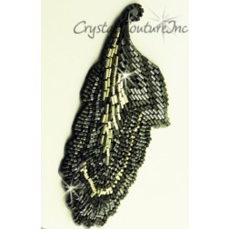 Black/Silver Combo Beaded Leaf Applique