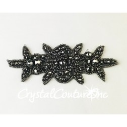 Jet Hematite Rhinestone/Gunmetal Metallic Beaded Applique