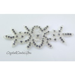 Black Diamond Beaded/Rhinestone Applique #1
