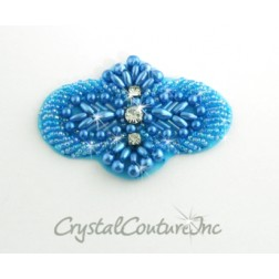 Blue Beaded & Pearl Applique