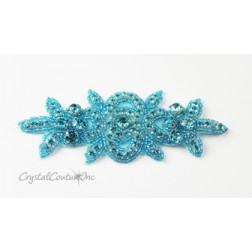 Aquamarine Rhinestone/Aquamarine Beaded Applique