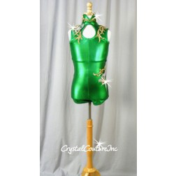 Shimmery Green Leotard with Gold and Silver Appliques - Swarovski Rhinestones - Size AM