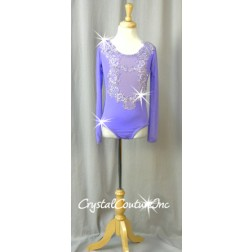 Lavender Purple Long-Sleeved Leotard with Appliques- Swarovski Rhinestones - Size YM