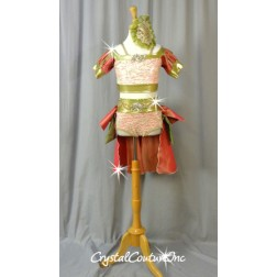Lt Peach, Coral & Gold 2pc Top & Trunk/Back Skirt - Swarovski Rhinestones - Size YL