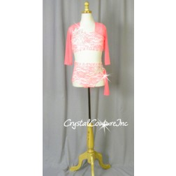 Pink Floral Lace and White Lycra Top & Trunk - Swarovski Rhinestones - Size AXS