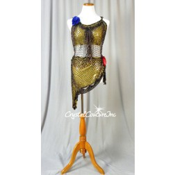 Gold 2 pc Bra Top and Skirt Covered with Intricate Multi-Colored Beaded/Black Netting - AM