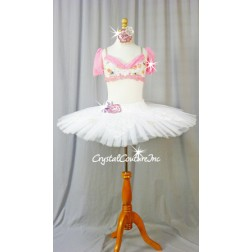 Pink/White Floral Top with White Platter Tutu - Swarovski Rhinestones - Size AS