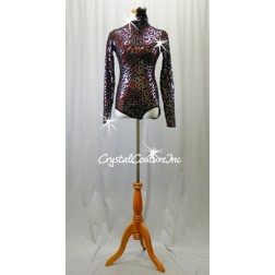 Black Floral Lace & Red Long Sleeve Leotard - Sequins & Swarovski Rhinestones - Size AS