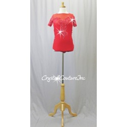 Red Lycra and Open-Net Leotard with Embroidered Appliques - Swarovski Rhinestones - Size AS
