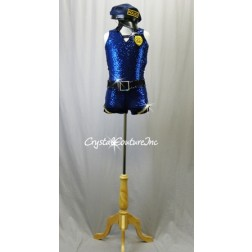 Navy Blue Zsa Zsa Sequin Bike-a-Tard with Black & Gold Accents - Swarovski Rhinestones - Size AM