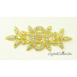 Crystal AB Rhinestone/Gold Beaded Applique