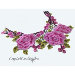 Fuchsia/Black/Gold Floral Lace Embroidered Applique
