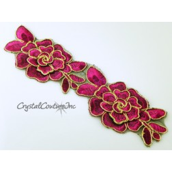 Fuchsia/Gold Flower Embroidered Applique