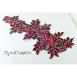 Fuchsia/Gold Floral Lace Embroidered Trim