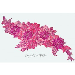 Fuchsia/Silver Floral Lace Embroidered Applique