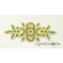 Light Colorado Topaz Rhinestone/Silver Beaded Applique