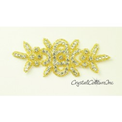 Crystal Rhinestone/Gold Beaded Applique
