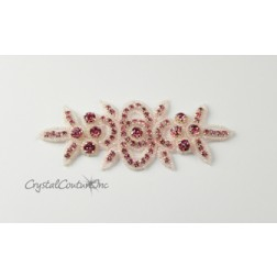 Light Rose Rhinestone/Light Rose Beaded Applique