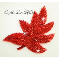 Red Beaded Leaf Applique