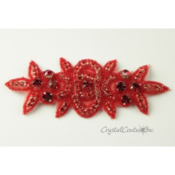 Light Siam Rhinestone/Light Siam Beaded Applique