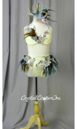 Ivory, Blue & Brown Feathered Bra-Top & Briefs - Swarovski Rhinestones
