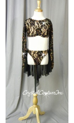 Black Lace Long-Sleeved Cropped Top & Brief with Attached Skirt - Swarovski Rhinestones
