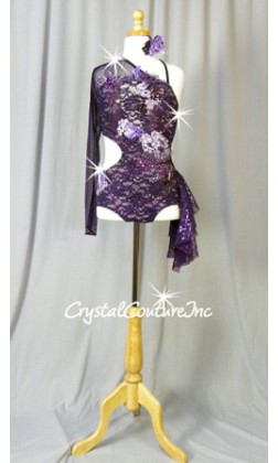 Dark Purple Floral Lace Cut-Out Leotard with Sleeve and Side Skirt - Swarovski Rhinestones