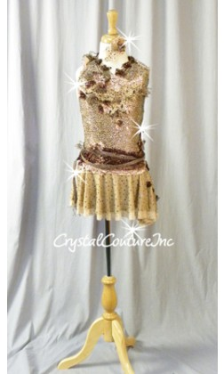 Lt Brown Floral Lace Leotard with Asymmetrical Skirt - Swarovski Rhinestones