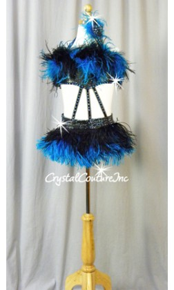 Black Peather Connected 2 Pc Top and Trunk with Feathers - Swarovski Rhinestones