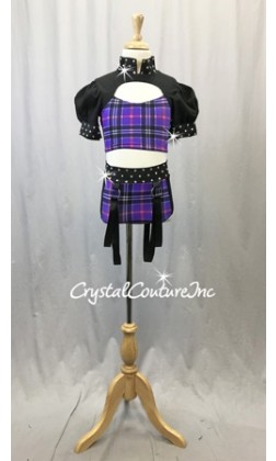 Black and Purple Plaid Two-Piece Cropped Top with Half-Sleeves and Trunks