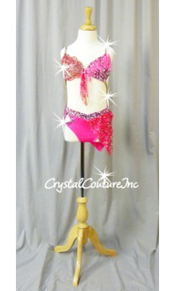 Hot Pink and Red Connected 2Pc Bra-Top with Brief/Skirt - Swarovski Rhinestones