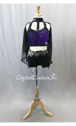 Black and Mock-Neck Top with Booty Shorts and Lace Wings - Swarovski Rhinetones