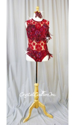Burgundy Open Net Lace Leotard with Embroidered Appliques and Feathers - Swarovski Rhinestones